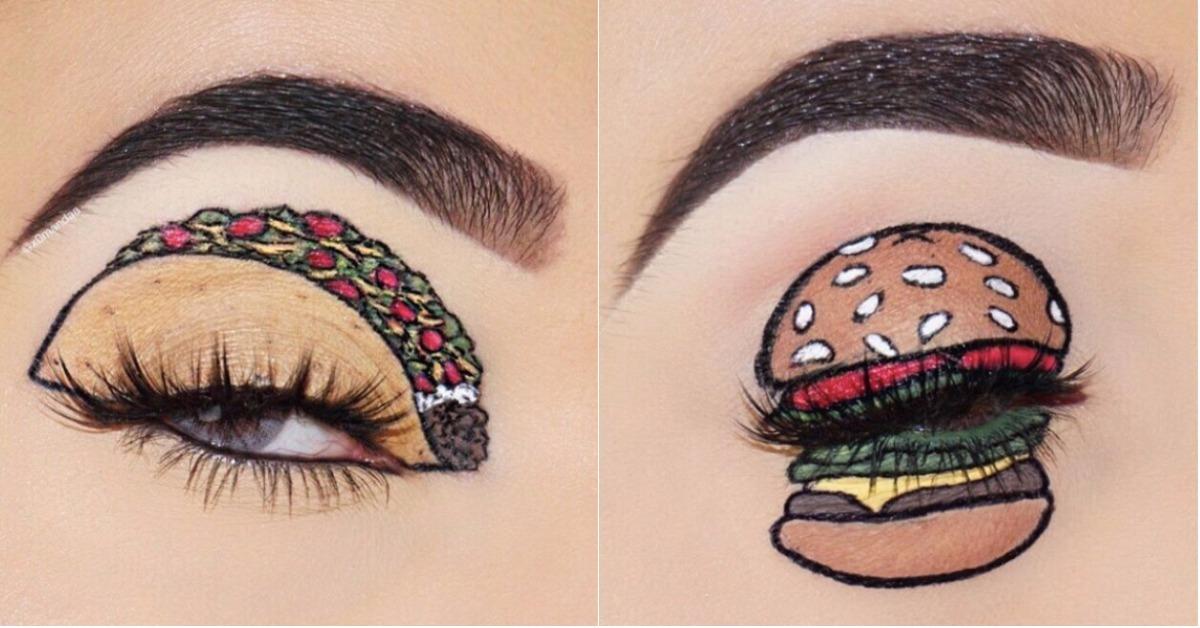 食物也能够放在眼皮上!这位彩妆师的眼妆根本就是一幅画吧!