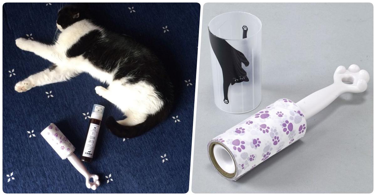 自己的猫毛自己黏!超可爱的猫咪除尘滚轮把一整只猫掌借给你