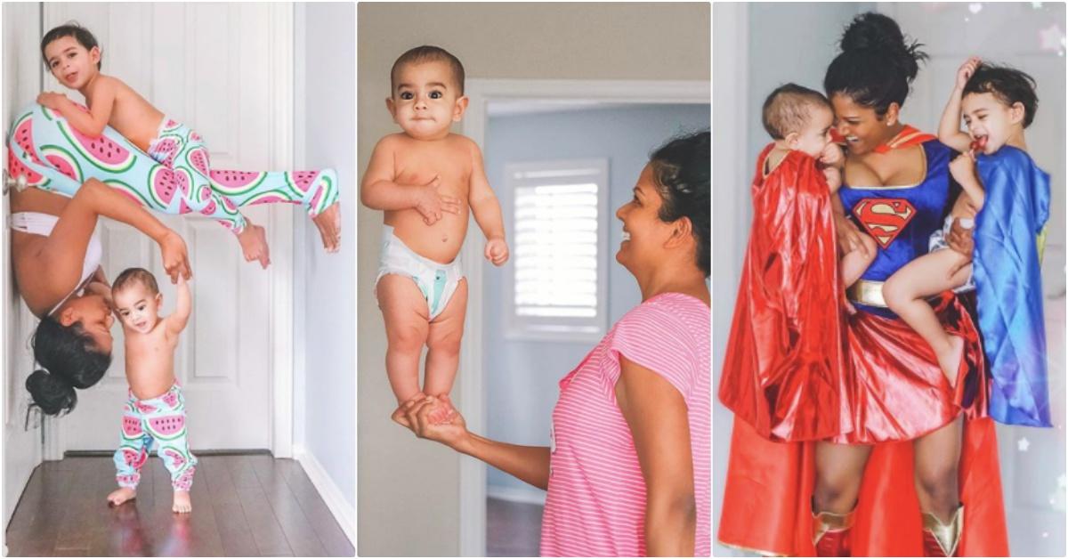 我的超狂神力老妈!把宝宝抓起来练瑜伽、一手站立…这难道是传说中的超人特攻队?