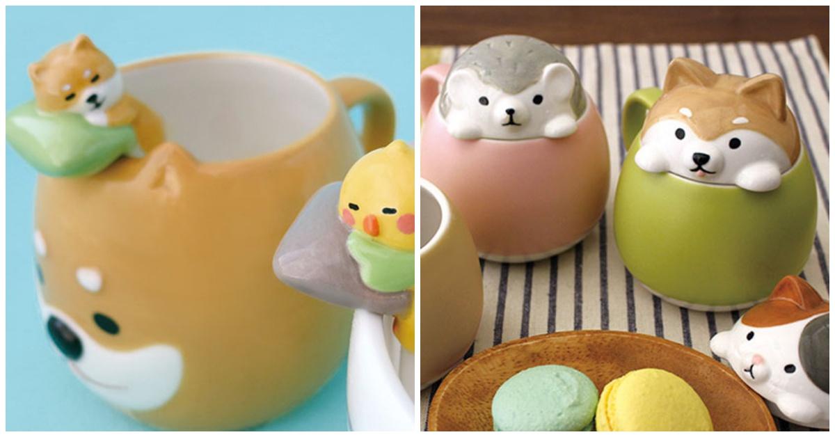 柴柴整只趴在你的杯子上睡觉!让可爱小动物的杂货陪你来场疗癒下午茶