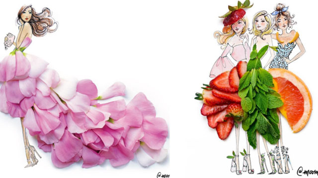 蜂蜜当裙摆让整个人都甜了起来!花草系都会女子的时尚插画