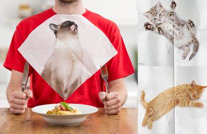 让喵喵来陪你吃饭!猫奴必败的喵星人餐巾
